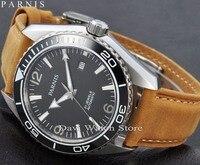Parnis 45mm MIYOTA dos homens Vidro de Safira caixa de Cerâmica Moldura de aço inoxidável Automatic mens Watch