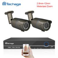 Techage POE Security Camera CCTV System 4CH 1080P NVR 2PCS 2 8 12mm Motorized Zoom Auto