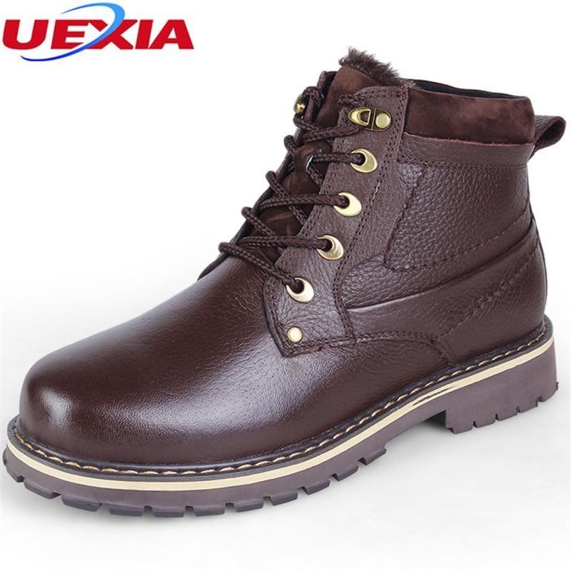 Unisex Brand Russian Winter Plush Snow Boots Men Cow Leather Boots Lace-up With Fur Shoes Anti Slip Men Shoes Plus Size 37-50 warmest genuine leather snow boots size 37 50 brand russian style men winter shoes 8815