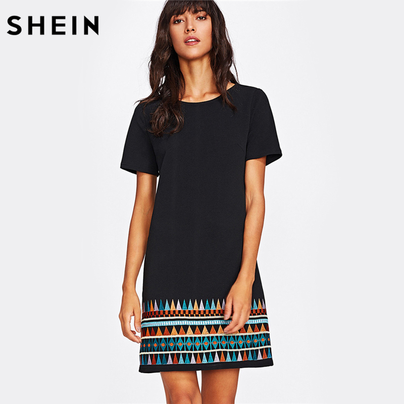 SHEIN Aztec Embroidered Hem Dress Black Short Sleeve Round Neck A Line Boho T Shirt Dress