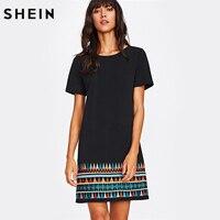 SHEIN Aztec Embroidered Hem Dress Black Short Sleeve Round Neck A Line Boho T Shirt Dress