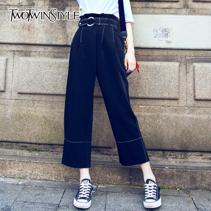TWOTWINSTYLE Ruffles Wide Leg Pant Female Belt High Waist Pocket Ankle Length Trouser 2018 Spring Fashion Korean Clothing