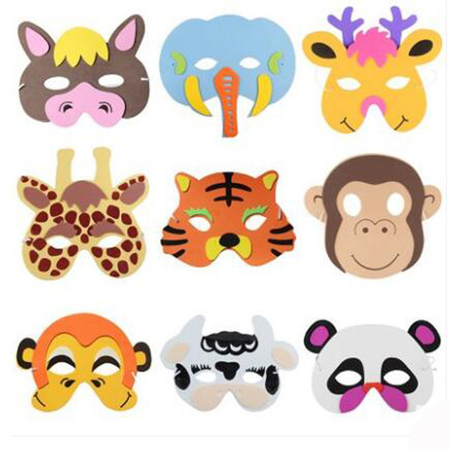 cartoon animals eva mask for kids children forest animal mask stage performance mask props pumpkin zebra tiger monkey cat fox - Kids Cartoon Animals