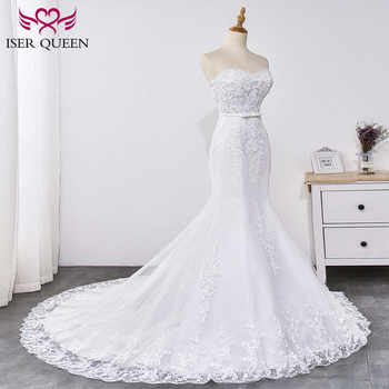 Gorgeous Appliques Lace Mermaid Wedding Dress Strapless Sashes with Bow Simple Elegant Mermaid Bride Dress WX0031