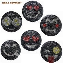 Black Color Hotfix Rhinestone Applique Fashion Emoji Design Crystal Strass  Patches LOCACRYSTAL(China) 16629f132466