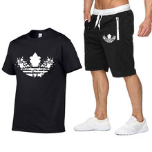 The latest graffiti printing high T-shirt set 2 pieces casual short-sleeved O-neck 3D fashion printed cotton + shorts