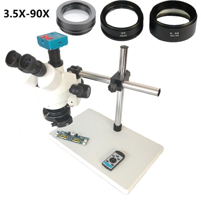 360 ajustável único apoio de braço 3.5X-90X Trinocular Microscópio Estéreo + 30MP 1080 P HDMI de Vídeo Digital Da Câmera do Microscópio