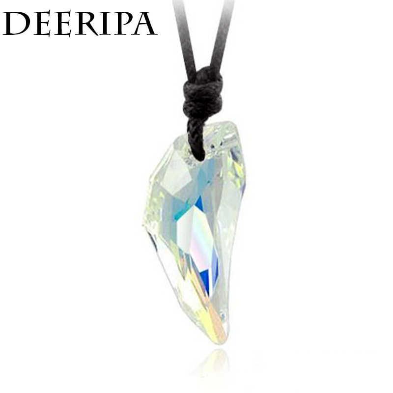 Fashion Spike Serigala Gigi Tali Kulit Kalung Vintage Austria Crystal Lilin Liontin Kalung untuk Unisex Wanita Pria Perhiasan