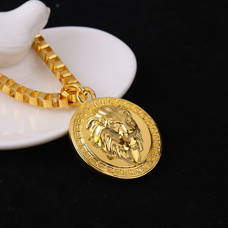 Hiphop golden lion pendant necklace gold color lion head disc photos list aloadofball Choice Image