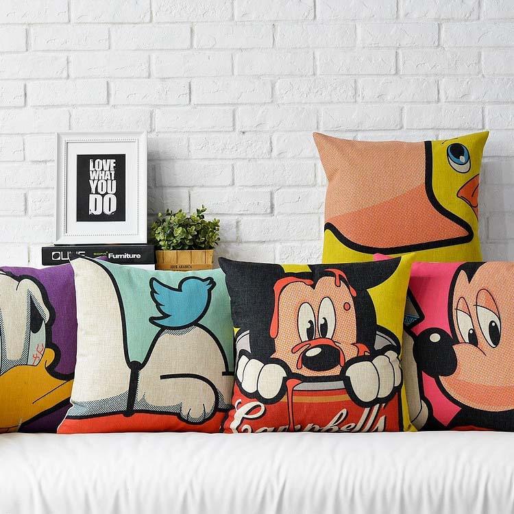 American Animation Cartoon Pillow , Cartoon Pillow Cushion ,Linen Pillowcase, Cafe Home Decoration Sofa Cushion