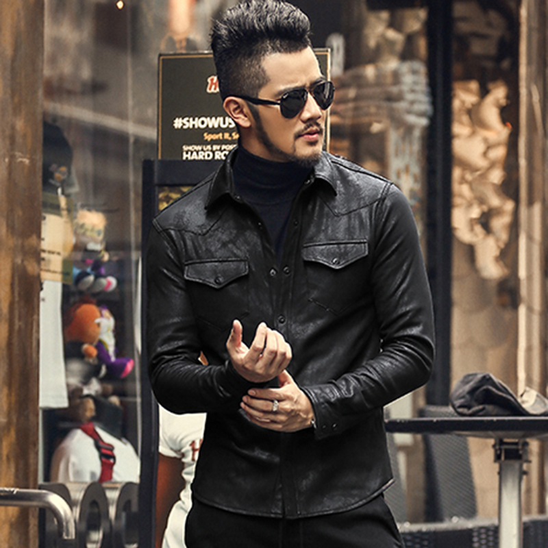 3a251141d US $51.88 |leather Jacket Shirts Men Plus velvet camisa social masculina  Brand warm Slim Fit men black shirt long sleeve Autumn New S2035-in Casual  ...