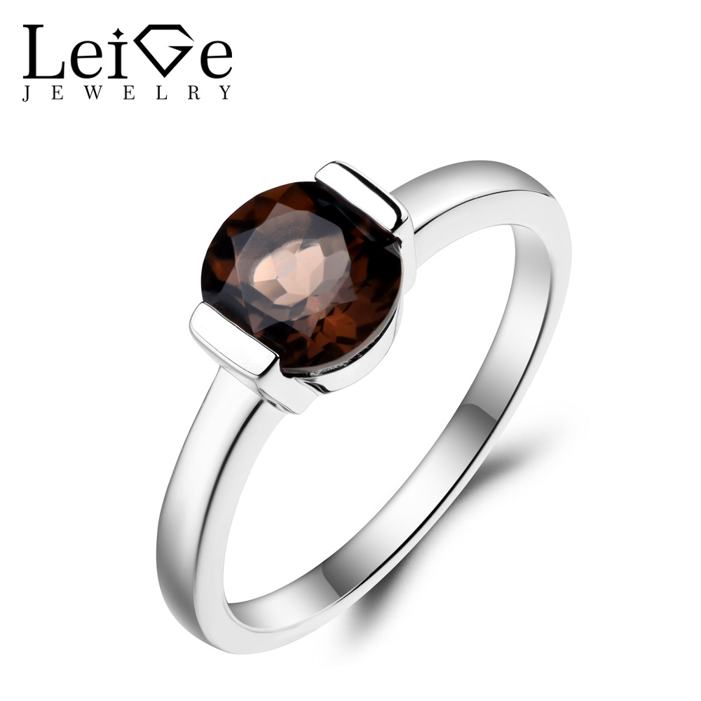 Leige Jewelry Natural Smoky Quartz Ring Cocktail Party Ring Round Cut Brown Gemstone 925 Sterling Silver Solitaire Ring for Her цена