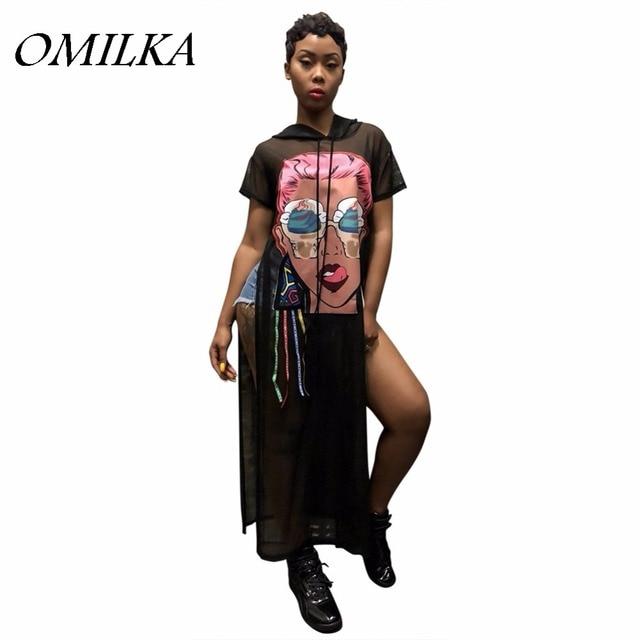 OMILKA 2018 Summer Women Short Sleeve Hooded Cartoon Printed Side Split Dress  Sexy Black White Club Party T Shirt Long Dress 9d3e8063a48c