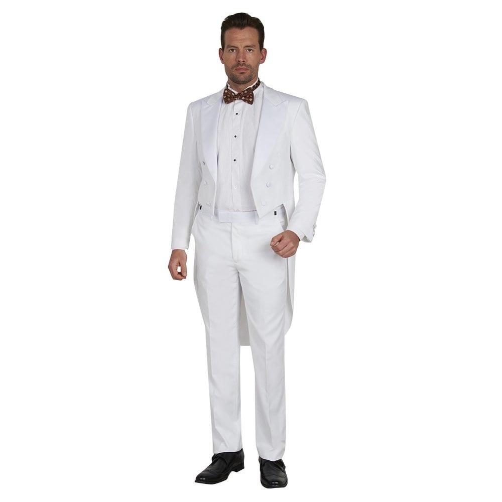Tailcoat Groomsmen Peak Satin Lapel Groom Tuxedos White Men Suits Wedding Best Man (Jacket+Pants+Tie+Hankerchief) B866