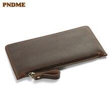 PNDME high quality vintage casual simple cowhide genuine leather long zipper men's women's wallet money clips phone purse