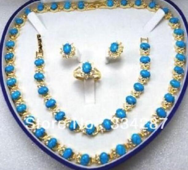 Beautiful Turquoises Necklace/Bracelet/Ring/Earring Set