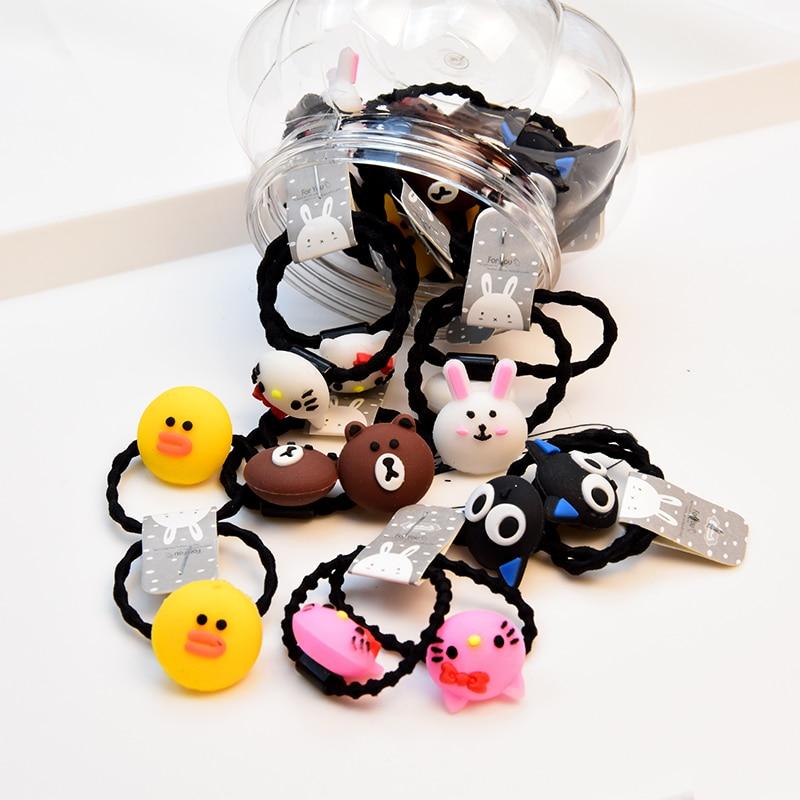 20 24pcs Set Gift Box Packed Girls Children Cute Cartoon Elastic Hair Bands Headwear Scrunchies Rubber Bands Hair Accessories in Hair Accessories from Mother Kids