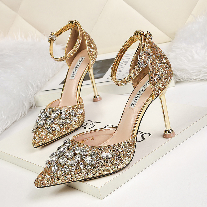 Bridal Shoes High Heels: Spring Red Gold Rhinestone Wedding Shoes High Heeled