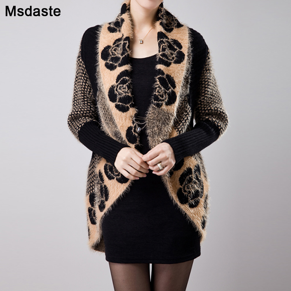 Knitted Sweaters Cardigans Cashmere Shawl For Women 2019 Autumn Winter Floral Tricotado Vintage Ladies Coats Knitwear Jackets