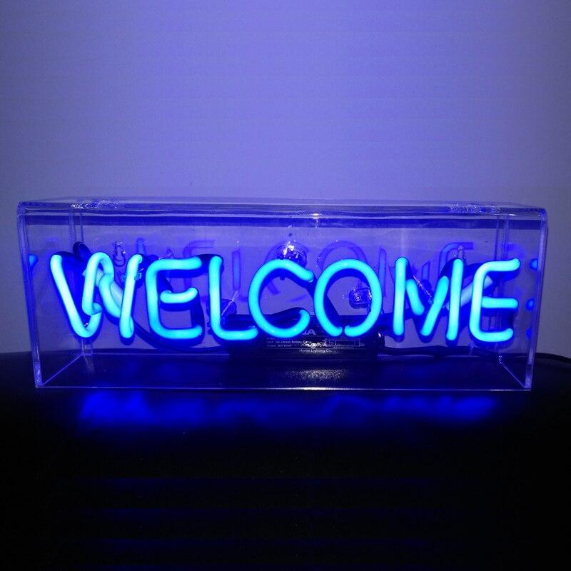 Persönlichkeit bar nachtlicht dekoration schlafzimmer party bar eisen box neon party licht nacht lampen colur kunst schreibtisch lampen ZA428048