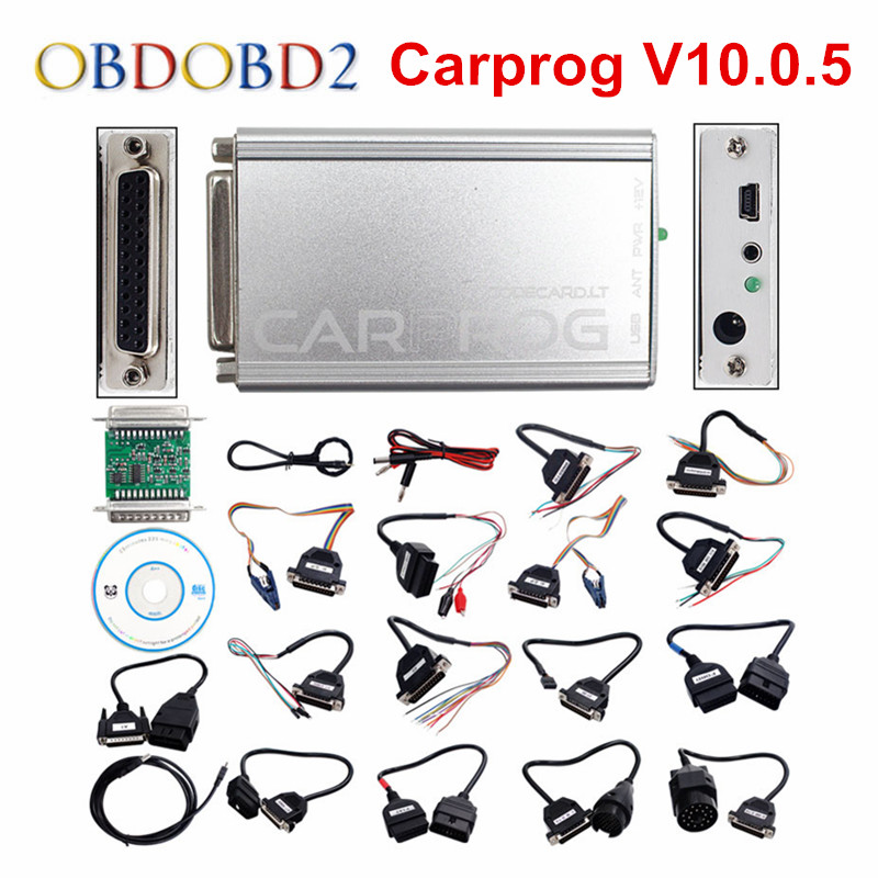 Newest CARPROG Full Set V10.0.5 Programmer Auto Repair Airbag Reset Tools Car Prog ECU Chip Tuning Full 21 Adapters Free Ship