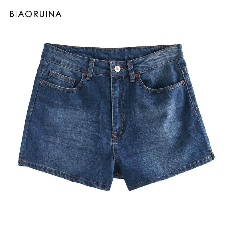 BIAORUINA Women Blue Washing Bleached Denim Shorts Female Summer High Waist Fashion Shorts Girls All-match Shorts Streetwear