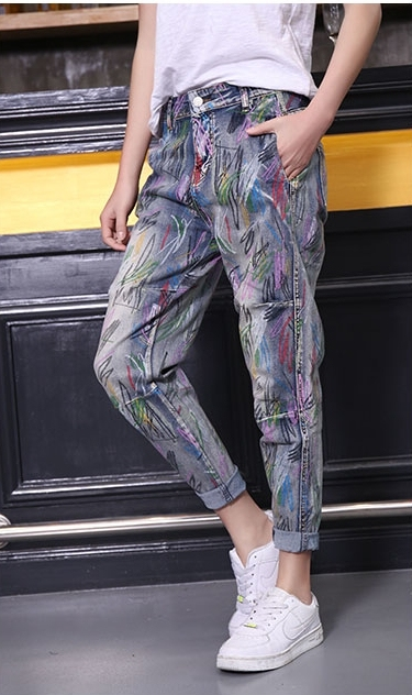 Woman spring plus size Mid painted ankle-length cross pants female summer oversized harem jeans lady print pencil jeans