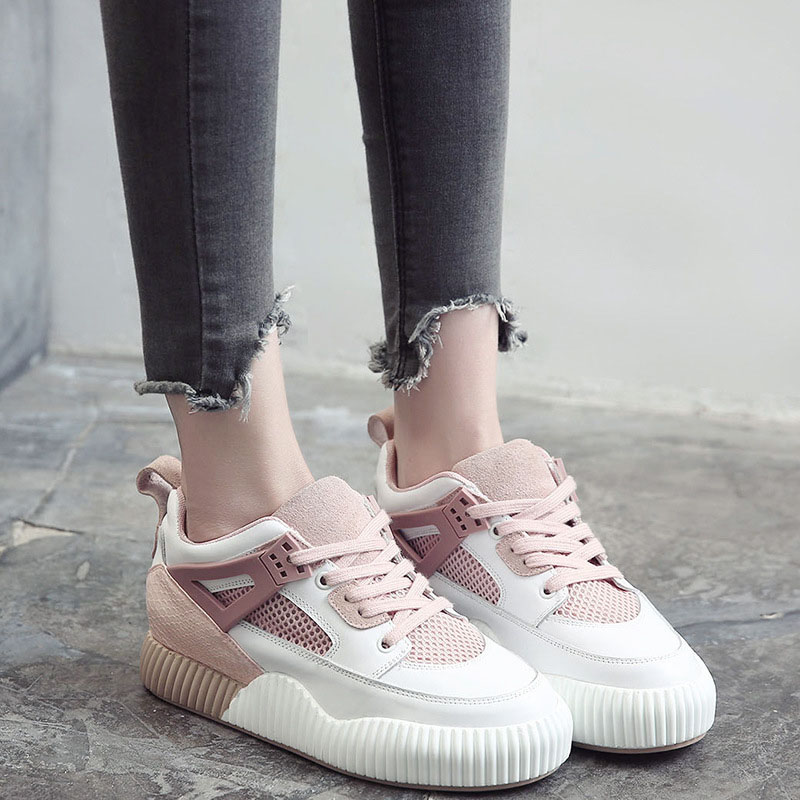 2017 New Spring Summer Platform Casual Shoes Gray Lace Up Women Fashion Black Casual Round Toe