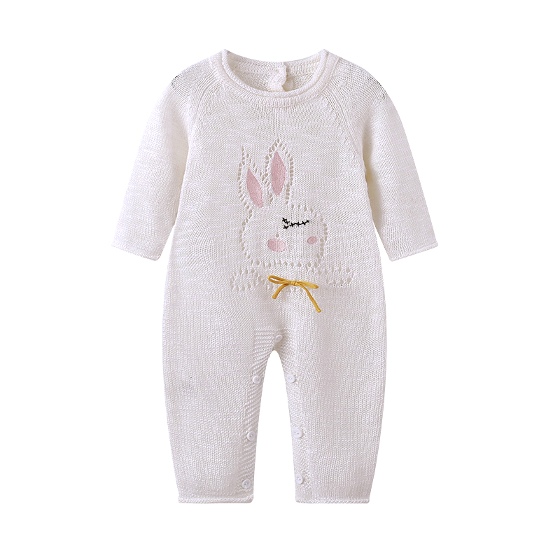 Auro Mesa infantil Newborn Baby hollow sweater knit Romper Sweet Cute Rabbit Baby Clothes roupa infantil menino recem nascido 2016 bebe rompers ropa pink minnie hoodies newborn long romper baby girl clothing roupa infantil jumpsuit recem nascido