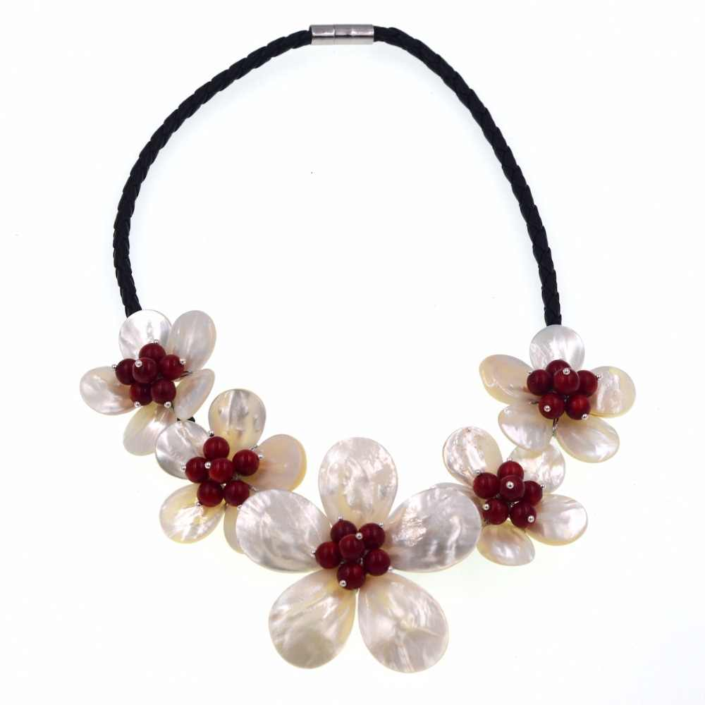red coral white sea shell 5 flower necklace