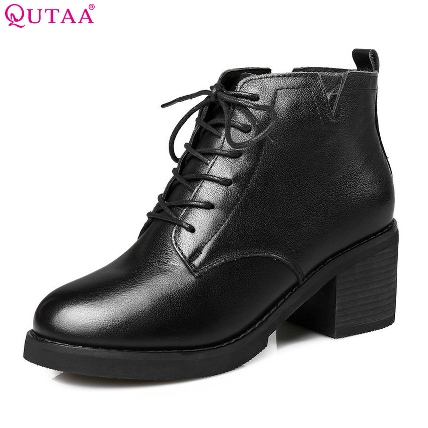 QUTAA 2018 Womwn Ankle Boots Cow Leather Lace Up Round Toe Square High Heel Westrn Style High Quality Women Boots Size  34-39 trusify 2017 oh attraction cow leather ankle zip short boots square toe med strange style european style boots