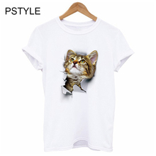 Summer  womens t shirt Fashion 3D Black Cat T-Shirt Newest female Funny T Shirts Animal Print Tops Hip Hop Tee Pstyle