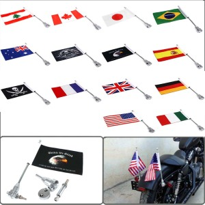 For Harley Sportster XL883 XL1200 Touring Road King Glide FLHT Motorcycle Rear Side Mount Luggage Rack Vertical Pirate Flag Pole(China)