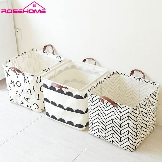 33cmx33cmx33c Folding Laundry Basket Cartoon Storage Barrel Cotton Linen  Dirty Clothes Basket Toy Bra Sock Storage
