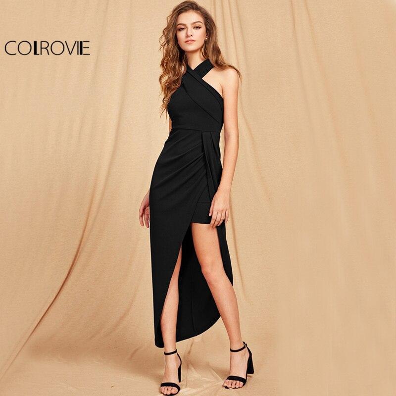 COLROVIE Cross Halter Maxi Party Dress 2017 Black Slim Women Asymmetrical Ruched Fall Dress Elegant Wrap Sexy Bodycon Dress lc6181 2 ruched wrap midi dress black free size