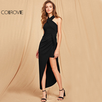 COLROVIE Cross Halter Maxi Feestjurk 2017 Zwarte Slanke Vrouwen Asymmetrische Ruches Fall Jurk Elegante Wrap Sexy Bodycon Jurk