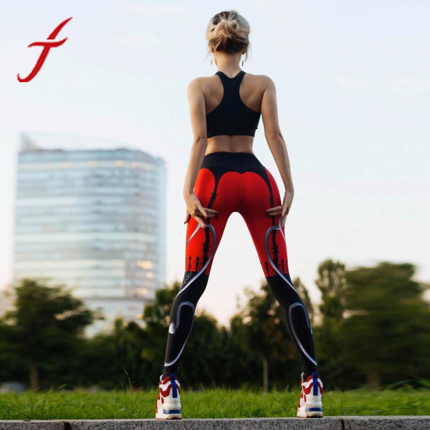 FEIOTNG Top Brand Workout Leggings Fashion Printed Women Sporting Mid Waist Pants Fitness Elastic Leggings