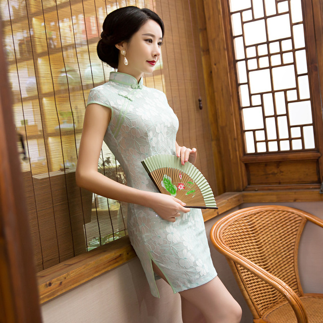 Fengmeisi Chinese Cheongsam Short Qipao Lace Green Vintage Oriental Sexy Dresses Women Tradicional Party Weeding Clothes