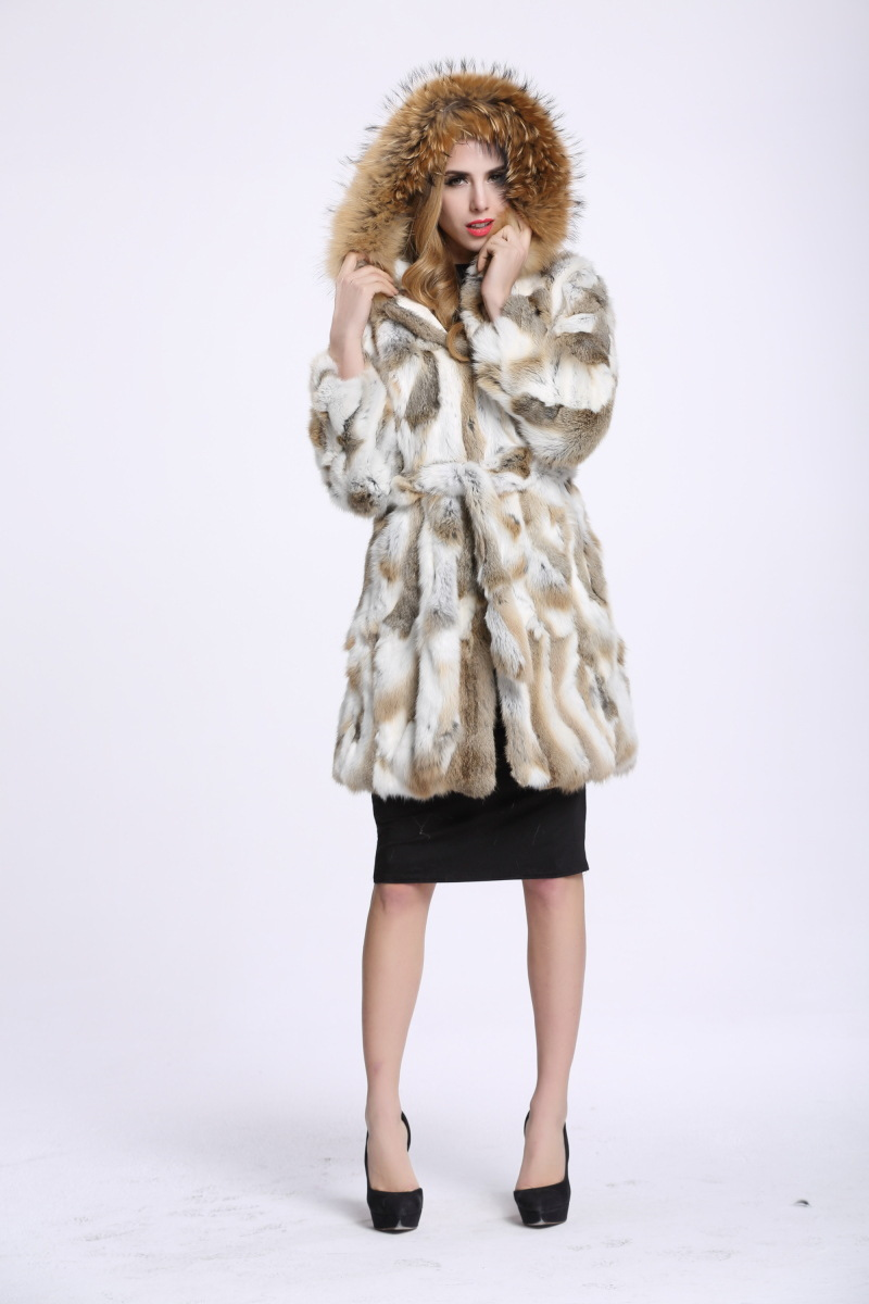 Bafei European raccoon fur collar trade explosion long belt's true Angora fur leather coat can be customized to the whole
