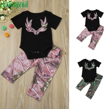 2017 cute Green Red Baby Newborn Boys Girls Short O-Neck Deer Print Romper Jumpsuit+Pants Outfit Set Clothes P30 baby clothes