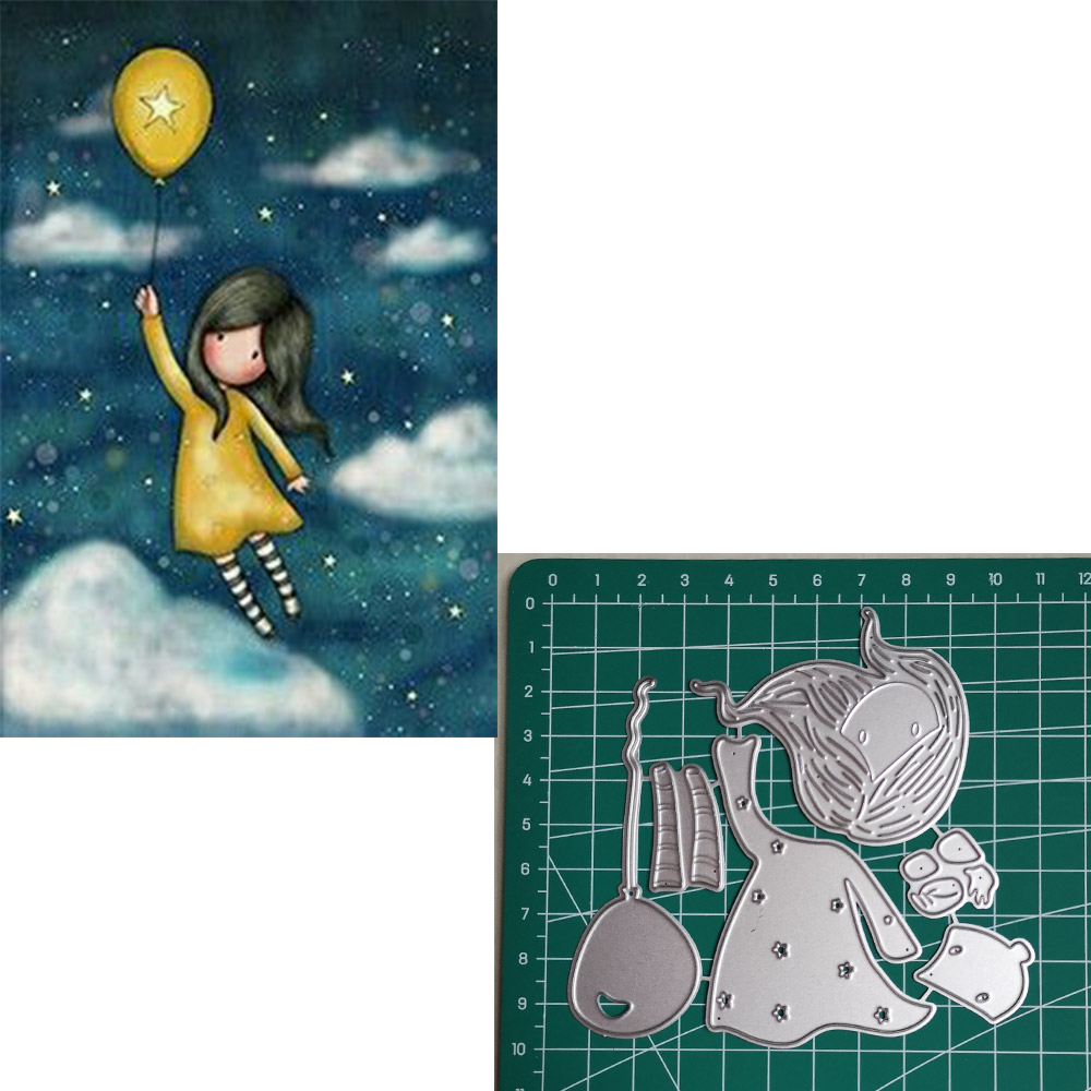 Balloon Girl Metal Cutting Dies 2019 Scrapbooking Craft Dies Cut Stamps Embossing Stencils Invitation Card Making