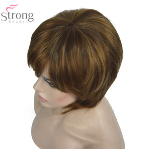 Image 4 - StrongBeauty женский короткий прямой парик в стиле Боба, коричневый, с светлыми акцентами, синтетические натуральные парики