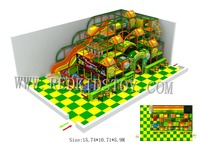Revised Design For Latvian Customer 5.9m high Kids Playground With Net Climbing and Party Zone HZ170928 C