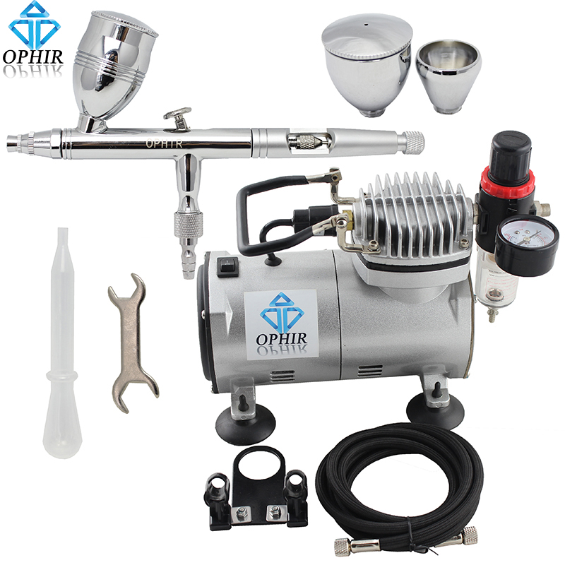OPHIR 0.5mm Dual Action Airbrush Kit with Air Compressor for Body Paint Makeup Nail Art Cake Decorating Air Brush Gun _AC089+006 ophir 0 4mm single action airbrush kit with 5 adjustable mini air compressor cake airbrush gun for makeup body paint ac094 ac007