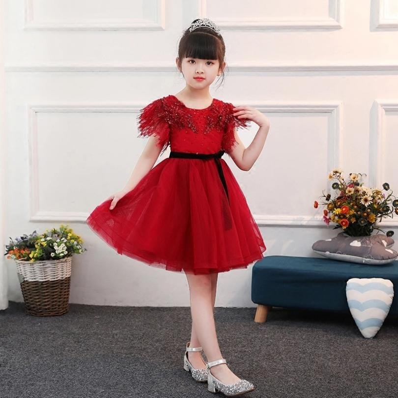 Children's Ball Gown Appliques Girls Dress Lace Mesh Spliced Girl Vestido Daminha Casamento Kids Wedding Party Red Costume Y928