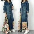 Бесплатная Доставка 2017 Новая Мода Джинсовая Длинное Пальто Для Женщин Плюс Размер Свободные Джинсы Верхняя Одежда С Длинным Рукавом Платья Одного грудью