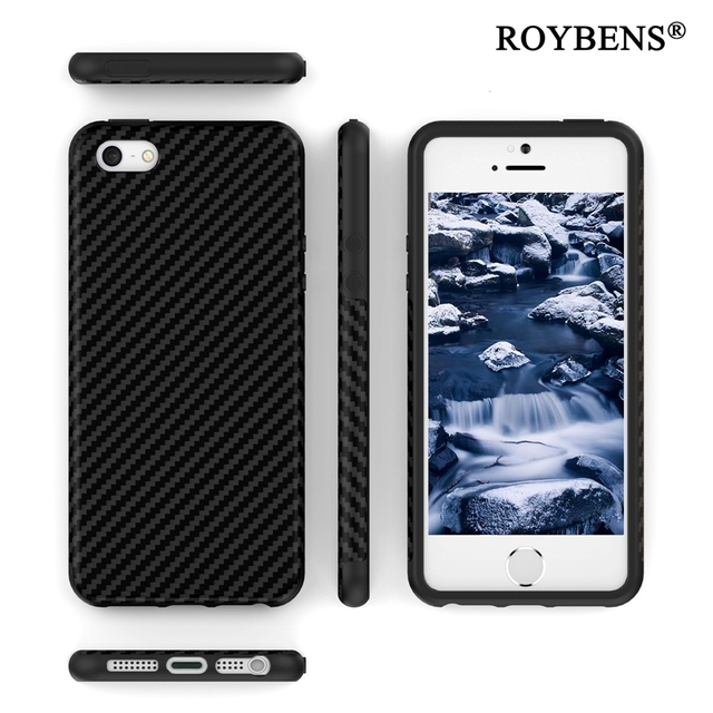 wholesale dealer e0013 6af4a US $4.49 10% OFF|5 초 SE 3D 섬유 Carbon Soft Case 대 한 iPhone 5 5 초 SE 대 한  iPhone X 6 6 초 7 8 Plus 10 가죽 피부 Cover Dual 층 ...