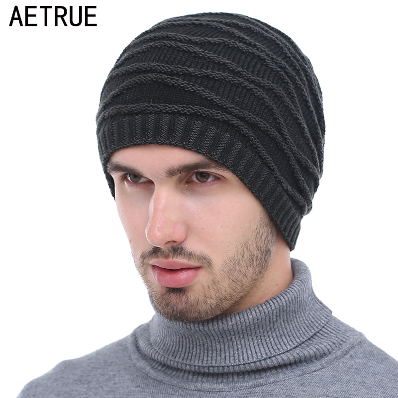 AETRUE Winter Knitted Hat Men   Beanie   Caps Women Warm Baggy Bonnet Mask Fur Blalaclava   Skullies     Beanies   Winter Hats For Men Hat