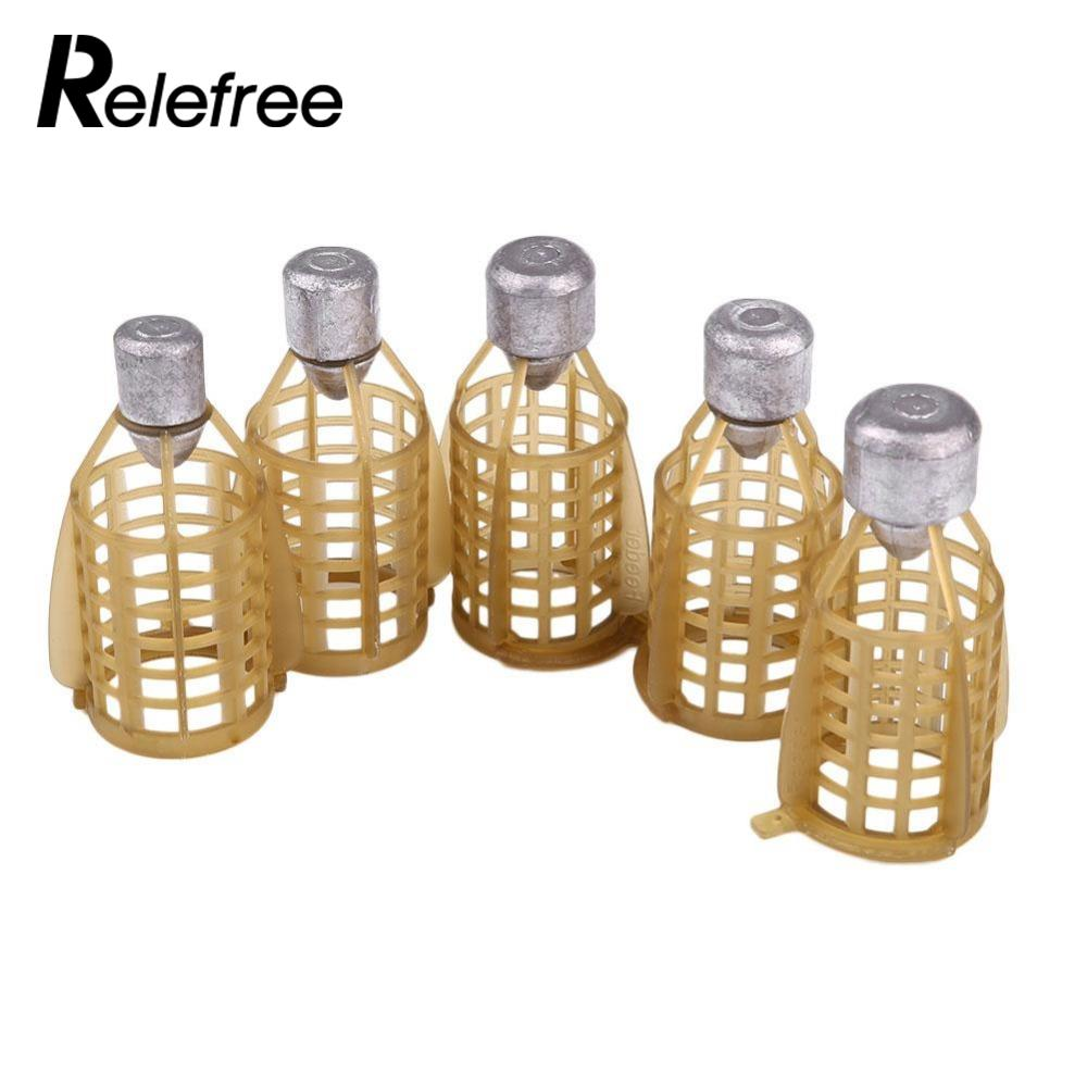 Relefree Fishing Bait Feeder Cage Basket Holder Fish Feeding Lure Trap Accessories