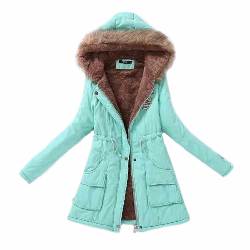 Women Parka Fashion Autumn Winter Warm Jackets Women Fur Collar Coats Long Parkas Hoodies Office Lady Cotton Plus Size